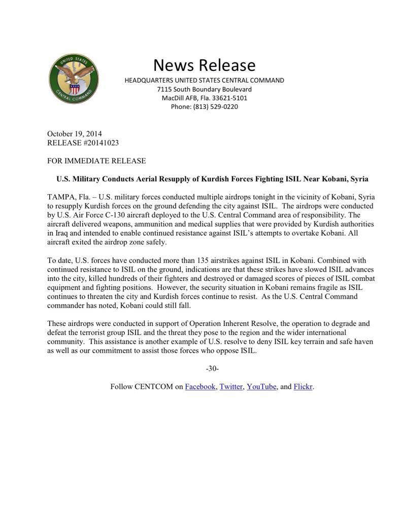 CentCom-PressRelease-10-19-14